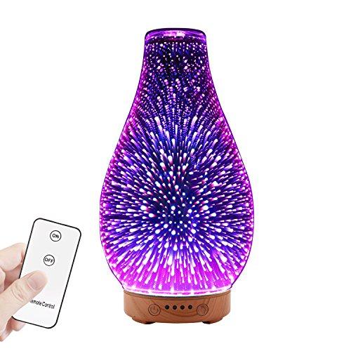 MoKo Aroma Diffuser, 3D Glas Aromatherapie Humidifier Ultraschall Luftbefeuchter mit 3D-Effekt Licht/ 4 Zeit Optionen/Automatische Abschaltung für Büro, Wohnzimmer, Schlafzimmer - Mehrfarbig -