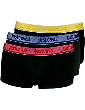 Boxer Costume Da Uomo Vita Bassa Di 3-pack Just Cavalli, Nero Con Rosso/limone/blu