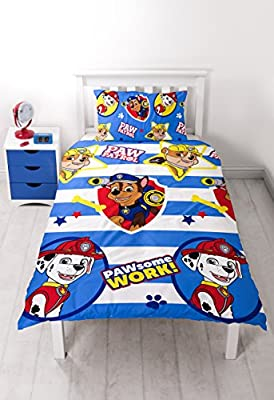 Paw Patrol Pawsome Single Duvet Set - Repeat Print Design produced by Character World - quick delivery from UK.