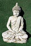 DEGARDEN Estatua Buda del Amor Decorativa para Jardín o Exterior Hecho de Piedra Artificial   Figura Buda Grande de 73 cm, Color Ceniza