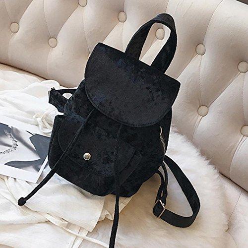 Longra Borsa di zaino di viaggio della borsa di scuola del coulisse di stile di modo di colore solido delle ragazze delle donne di modo solido Nero