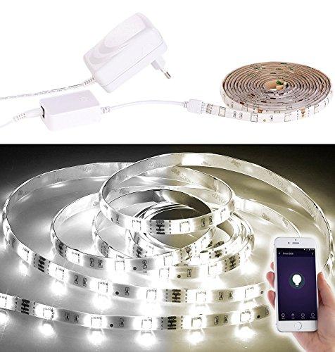 Luminea LED-SMD-Streifen-Lichter: WLAN-LED-Streifen, 2 m, weiß (regelbar), komp. zu Alexa Voice Service (LED-Streifen-Komplettsets mit Netzsteckern)