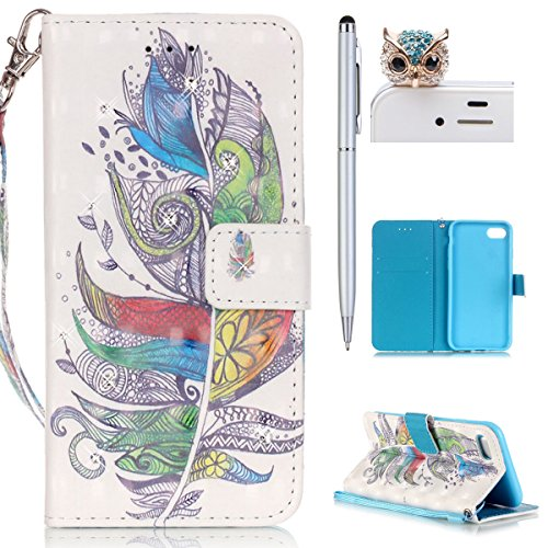 iPhone 7 Hülle,iPhone 7 Tasche iPhone 7 Case - Felfy Flip Bookstyle PU Ledertasche Strap Standfunktion Magnetverschluss Luxe Ledertasche Painted Muster Bunte Malerei Retro Painted Abdeckung Mit Standf Bunte Federn Bling