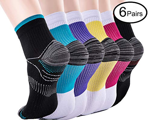 Compression Socken für Frauen & Männer-Upgrade Sport Plantar Fasciitis Arch Support- Low Cut Compression Fußsocken Am besten für Sport, Laufen, Medizin, Reisen, Schwangerschaft (6 Paar)