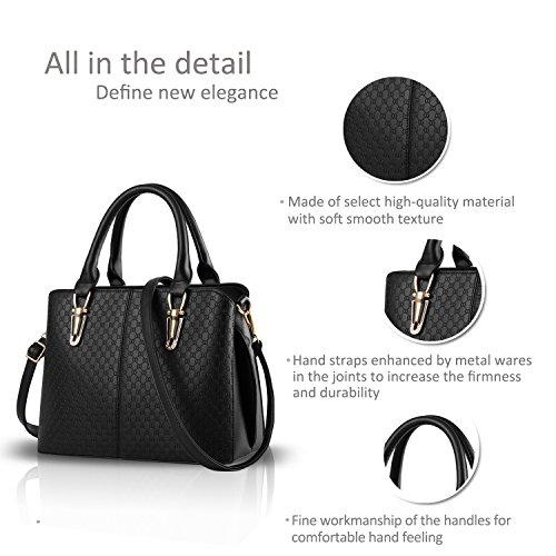 NICOLE&DORIS tendenza della borsa di modo femminile grande borsa retrò borse sacchetto di spalla casuale borsa Messenger per le donne(Rose�?black