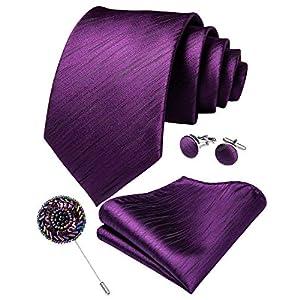 DiBanGu Krawatten-Set für Herren, Hochzeit, formell, Jacquard, gewebte Seide, Krawatte, Einstecktuch, Manschettenknöpfe, Reversnadel