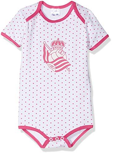 Real Sociedad Bodrso, Body para Bebés, Multicolor (Blanco/Rojo), 3 me