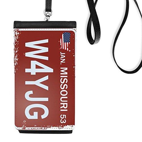 DIYthinker Usa American Car License Plate Nummer Missouri Kreative Illustration Muster-Leder-Smartphone hängende Handtasche Schwarze Phone Wallet