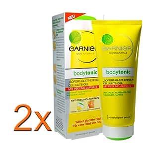 Garnier Lot de 2 tubes de gel anti-cellulite Bodytonic avec embout polisseur 200ml