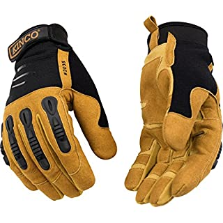 Kinco 2035-XL-1 Double layer of MiraX2 synthetic leather palm & fingertips, Molded PVC impact protection Hook & loop rubber pull-strap, Size: XL