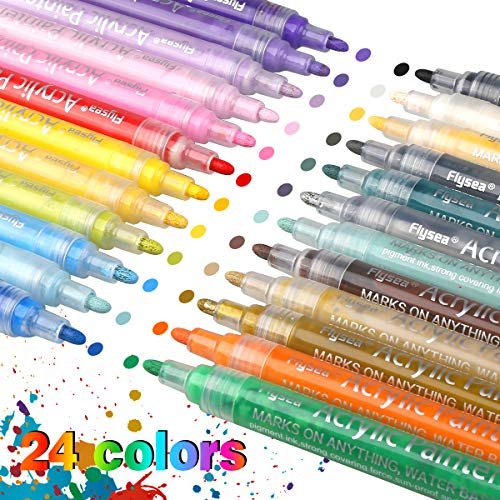 Acrylstifte Marker Stifte, 24 Farben Premium Wasserfest Paint Marker Set Art Filzstift Acrylic Painter für Glasmalerei,Garten, Papier, Metall, Stoffmalerei, Fotoalbum und DIY-Handwerk (24 Farben)