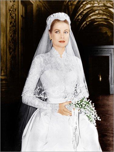 Posterlounge Leinwandbild 120 x 160 cm: Die Hochzeit in Monaco, Grace Kelly von Everett Collection - fertiges Wandbild, Bild auf Keilrahmen, Fertigbild auf echter Leinwand, Leinwanddruck