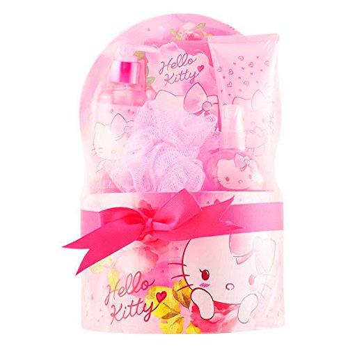 Hello Kitty Set d'Acqua di Colonia, Lozione Corporale, Gel Doccia, Sali da Bagno e Spugna Colore Rosa - 485 ml