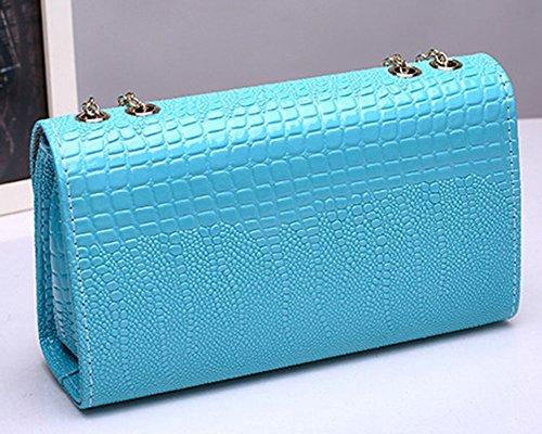 Donne di PU pelle Borsa del messaggero di Crossbody frizione borsa a tracolla Cachi Blu