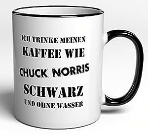 tasse ich trinke meinen kaffee wie chuck norris schwarz und ohne wasser k che. Black Bedroom Furniture Sets. Home Design Ideas