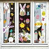 WATINC 100Pcs+ Oeuf de Pâques Fenêtre Autocollants Kit DIY Window Clings Lapin Fleurs Réutilisable Décal Amovible Verre Auto adhésif Sticker Miroir Porte Fête Décoration pour Easter Party, 8 Feuilles