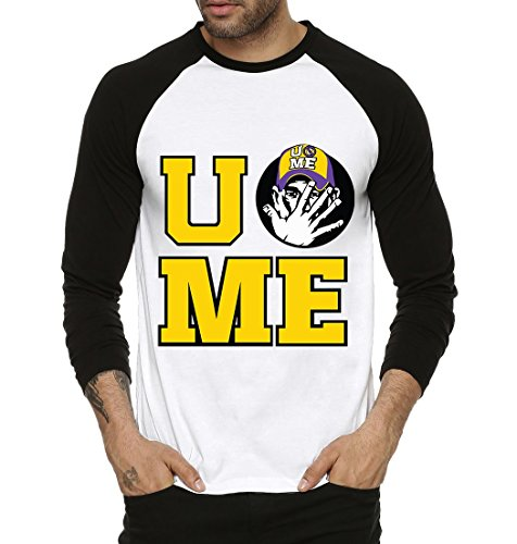 Fanideaz U and Me John Cena WWE Round Neck Raglon Tshirts for Men_Black_M