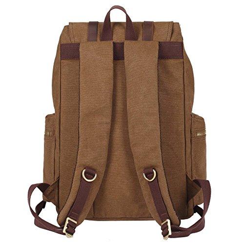 KAXIDY Leinwand Laptop-Tasche Segeltuch Leder Sporttaschen Trekkingrucksack Rucksäcke Schulrucksäcke (Khaki) Dunkle Khaki