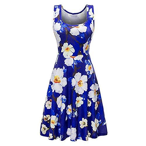 XuxMim Sommerkleid Damen Knielang Festlich Strand Rockabilly Kleid Kurzarm Abend Party Minikleid(Blau-2,X-Large)