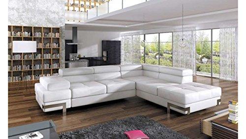 JUSTyou EMPORIO Canapé d'angle Sofa canapé lit avec coffre Cuir écologique (lxLxH): 223x275x70/90 cm Blanc Angle droit
