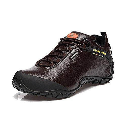 Xiang Guan Herren Low-top Leder Wasserdicht Outdoorschuhe Sport Camping Wandern Walking Trekking Schuhe Sneaker Coffee
