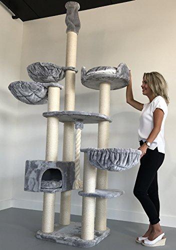 RHRQuality Kratzbaum Grosse Katzen stabil deckenhoch XXL Catdream Hell Grau Katzenkratzbaum für schwere Katze hoch