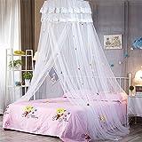Betthimmel Baldachin Moskitonetz Netz Baby Betthimmel Deko Baldachin Romantische Prinzessin Mückennetz (Weiß)