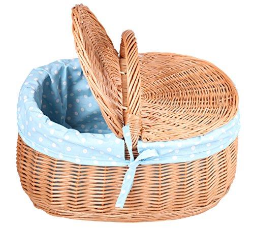 Handgeflochtener Picknickkorb mit Deckel aus 100% natürlicher Weide mit Schonbezug 24cm x 41c x 29cm (K78)