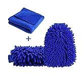 Tovee Tovee Waschhandschuh Kits, 2 Stück Wasserdicht Auto Reinigung Mikrofaser Handschuhe und 1 Stück Mikrofasertücher Reinigungstücher, Chenille Waschen Handschuhe für Auto oder Haushalt Reinigung