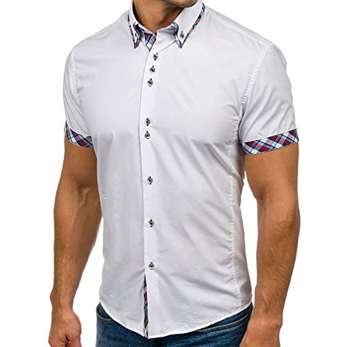 Yinew Herren Polo Shirt Klassiker Doppelkragen Gitterfarbe Foreign Herren Casual Slim Kurzarm Shirt Weiß M
