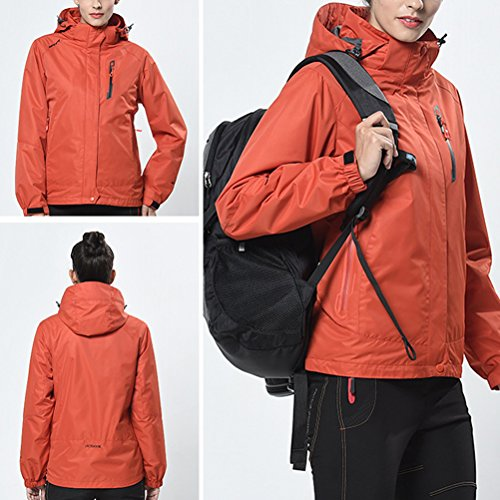 Zhhlinyuan Womens 3 in 1 Windproof Warm Coat Tops Adult Outdoor Breathable Des sports Jacket Orange