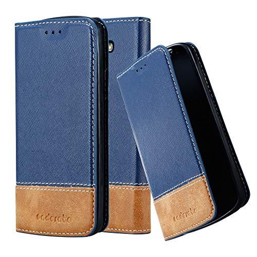 Cadorabo Hülle für LG G2 Mini - Hülle in DUNKEL BLAU BRAUN – Handyhülle mit Standfunktion und Kartenfach aus Einer Kunstlederkombi - Case Cover Schutzhülle Etui Tasche Book