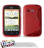 """Coque Souple Ultra-Slim HTC DESIRE C [Le S Premium] [Rouge] de MUZZANO + 3 Films de protection écran """"UltraClear"""" + STYLET et CHIFFON MUZZANO® OFFERTS - La Protection Antichoc ULTIME, ELEGANTE ET DURABLE pour votre HTC DESIRE C"""