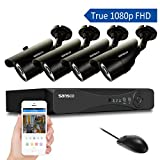 SANSCO 1080P DVR Recorder with 4x Super HD 2.0MP Outdoor CCTV Cameras (P2P Technology, 1920 x1080 Bullet Cam, Rapid USB Storage Backup, Vandal and Water-Proof Body, Night Vision, Mobile App: Xmeye)