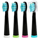 Fairywill Electric Toothbrush Replacement Head x 4 with Soft Bristle Solely Compatible for Pearl-, Crystal- and Daily- Series Toothbrush