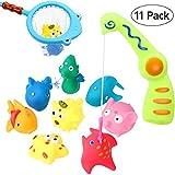 BESTOYARD Bad Angeln Spielzeug mit Schwimmenden Fisch Badespaß Zeit, Fisch Spielzeug mit Magnetic Angelrute , Baby Badewanne Spielzeug im Badewanne(11 Stück)