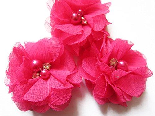 YYCRAFT 20 Stück Chiffon Blumen mit Strass und Perlen Hochzeit Dekoration/Haar Accessoire Handwerk/Nähen Craft(Fuchsia,5cm)