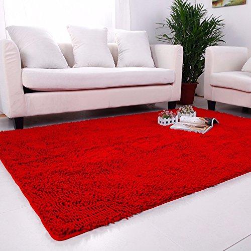 Absorbente de alta densidad dormitorio Salón mesa de café alfombras preciosas alfombras habitación de matrimonio de cabecera alfombrilla 1,4×200cm, rojo