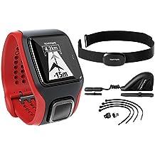 Montre GPS TomTom Multi-Sport Cardio HRM + CSS + AM incluant une ceinture cardio-fréquencemètre + capteur de cadence/vitesse + altimètre Noir/ Rouge (1RH0.001.02)