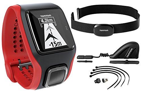 TomTom Multi-Sport Cardio Orologio GPS con Cardiofrequenzimetro e Altimetro Barometrico Integrati, Fascia Cardio, Sensore Cadenza/Velocità Bluetooth Smart, Rosso/Nero