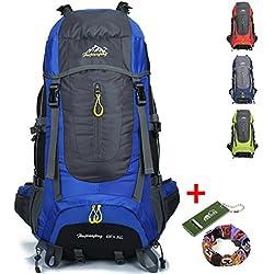Ticktock Ong 70L Viaje Mochila Trekking Senderismo Excursionismo Alpinismo Escalada Camping para Hombre Mujer (azul)
