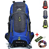 Ticktock Ong 70L Travel Backpack Trekking Hiking Mountaineering Climbing Camping Rucksack for Men Women (Blue)
