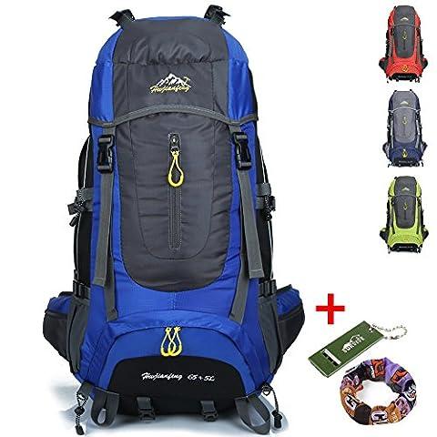 Ticktock Ong 70L Travel Backpack Grande randonnée pédestre Alpinisme Ruck Sack Water Resistang Sac de bagage pour les voyages en plein air Escalade Camping (bleu)