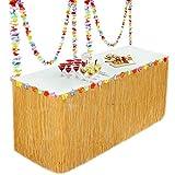 Fullsexy YHmall Falda de Mesa Hawaiian Grass para Decoraciones de Fiesta Falda Tropical de Mesa para...