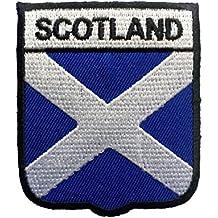 Parches - Escocia bandera - blanco - 7,1x6,1cm - termoadhesivos bordados aplique para ropa