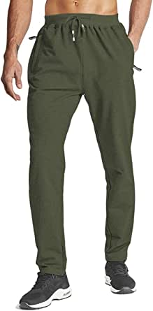 HOPATISEN Men's Sport Trousers Slim Fit Joggers Bottoms Gym Pants Open Hem Elastic Waist with Zip Pockets