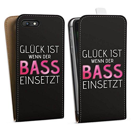 Apple iPhone 8 Plus Hülle Case Handyhülle Sprüche Glück Party Downflip Tasche weiß