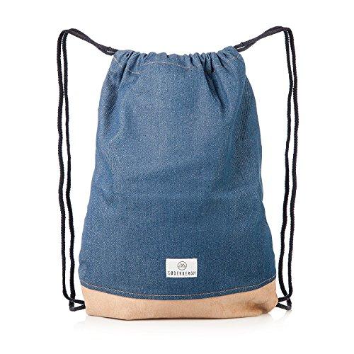 SODERBERGH Gimnasia Bolsas Bolsa de gimnasio bolsa de deporte mochila de lona unisex de talle bajo Mujeres Hombres Niños, Farbe:Blue