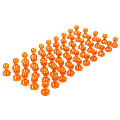 50 transparente orange Neodym Magnet-Pins/Push-Pins für Whiteboard, Kühlschrank