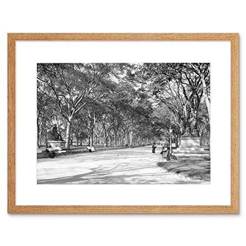 LOWER END OF MALL CENTRAL PARK NY 1901 OLD BW BLACK FRAMED ART PRINT B12X291